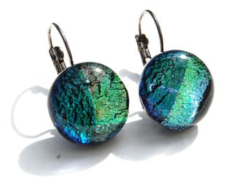 Green Dichroic Glass of water - Fusing - unique handmade earrings