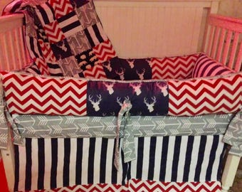 Red, White, & Blue Baby Bedding with Deer and Arrows