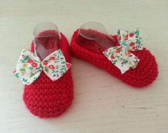 Little red toes 0-3 months raised(enhanced) by a liberty bow - birthday gift idea