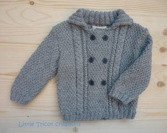 Light gray wool jacket for boy or girl (2 years / 24 months). Hand made in pure Merino Wool