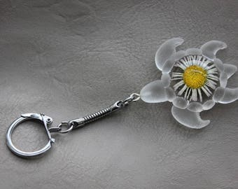 Keychain turtle made of resin and dried Daisy flower