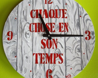 Red and gray modern wooden clock