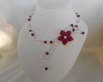 AZALEA in ivory and Burgundy wedding necklace