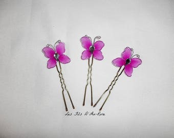 Set of 3 Fuchsia Butterfly Bobby pins