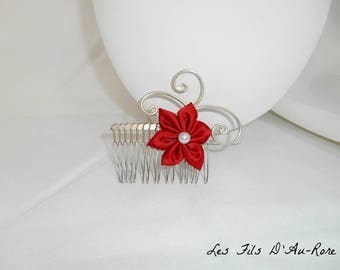 BELLA flower with Red satin flower hair comb