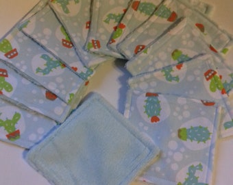 set of 12 wipes washable cotton and sponge
