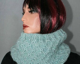 Snood pure wool, light blue for women