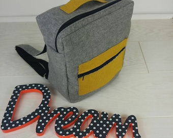 Backpack unisex gray and mustard yellow
