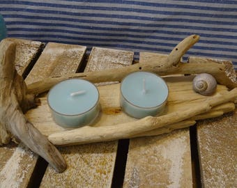 Candle in driftwood and shells