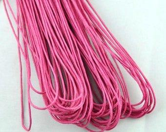 set of 10 m Fuchsia 1 mm waxed cotton cord
