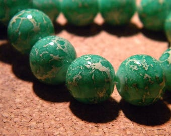 10 glass beads fashion reality - 12 mm-green grass speckled - PF24-4