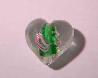 2 beads heart 15 mm - phorphorescente glass lampwork handmade hand-dark-green-PE300-5