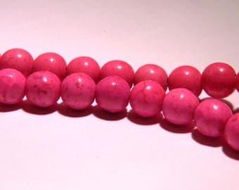 20 way howlite-8 mm beads - fuchsia-PG21