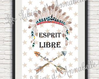 """Print + frame poster A4 size Indian or Tribal """"free spirit"""" child/baby theme"""