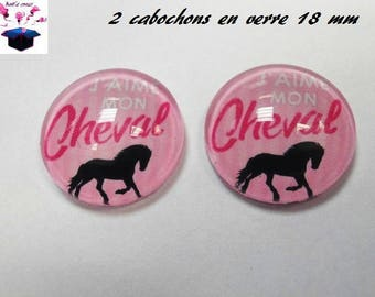 2 theme horse 18mm domed glass cabochon