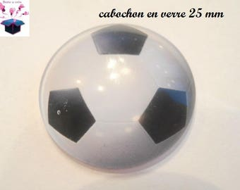 1 cabochon clear 25 mm football theme