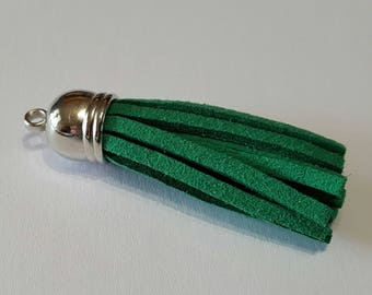 Leather suede 4 cm silver cap tassel / Green