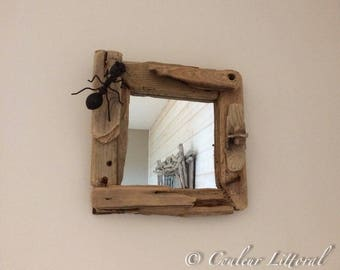 Square wall mirror Driftwood