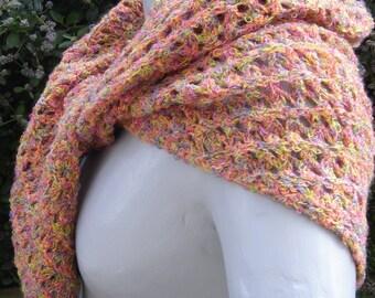 multicolored openwork stitches lightweight shawl
