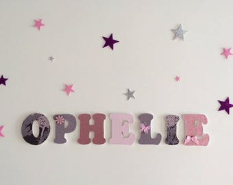 Ophelia - wooden name theme wood letter custom girl - pink, grey, purple and glitter - door plaque