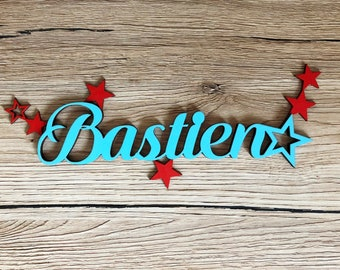 Personalized name with stars - Bastien - name wood - wood - kids room decoration letters - wooden decoration door sign