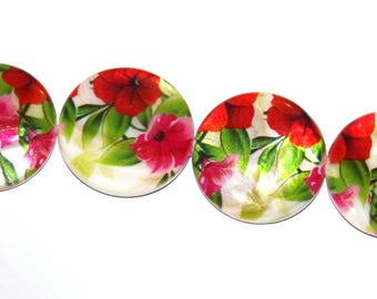 Set of 4 25mm hand painted Pearly shuffleboard beads