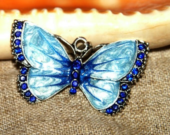 Color silver 6.8x4.5 inch enameled Butterfly pendant