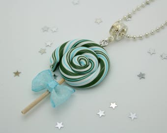 The Green and blue cane lollipop necklace
