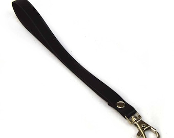 Black leather with snap strap