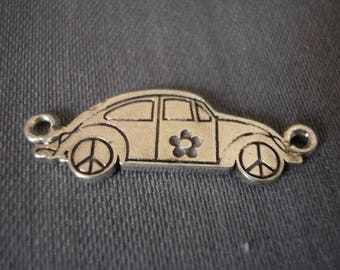 Car 27 mm matte silver plated Ladybug pendant