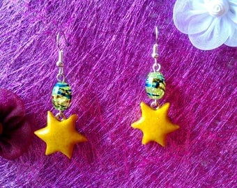 Earrings Star Spangled yellow polymer clay