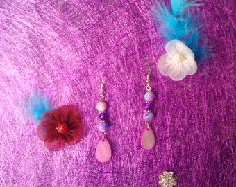 dangle drop earrings Pink mother of Pearl
