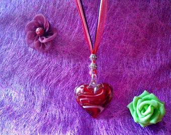 Heart Necklace red glass with effect
