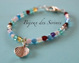 Crystal silver shell bracelet