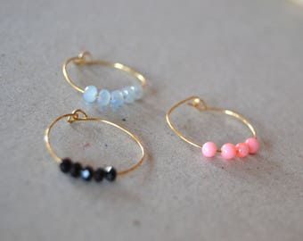 Thin brass coral and Crystal rings