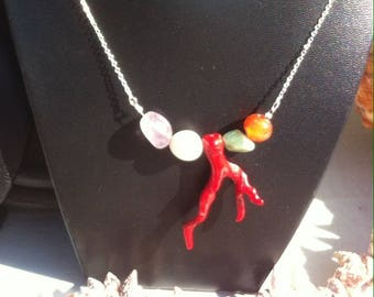 Navy necklace 925 sterling silver red coral branch
