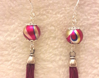 Synthetic Pearl and tassel earrings