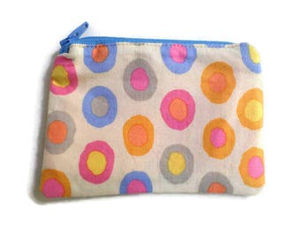 Coin Purse in Floral Fabric, Cards Case, Make Up Pouch, Coupon Holder, Small Necessities Bag, Zippered and Fully Lined