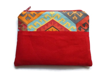Fabric Small Bag Red and Tribal, Pencil Case, Multi-use Bag, Toiletries Pouch, Documents Holder, Fully Lined, Zippered, Unisex