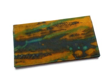 "Batik Fabric Checkbook Cover 6.5""x3.5"", Coupons Wallet, Cash Holder, Mustard, Blue and Teal"