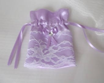 A gift bag for sweets for jewelry, mauve satin for wedding, birth, any event