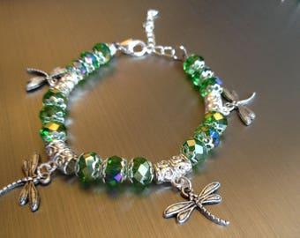 Sparkly green Dragonfly bracelet Swarovski Crystal