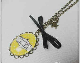 Necklace glass cabochon, yellow, summer, fabric bow
