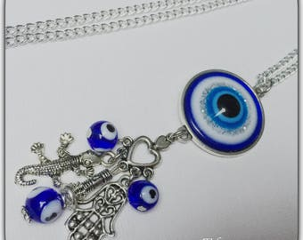 Necklace cabochon protective eye, eye glass, charms, necklace silver, grigri blue