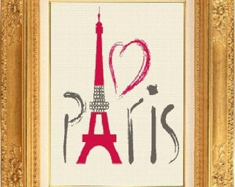 Paris Eiffel Tower counted cross stitch