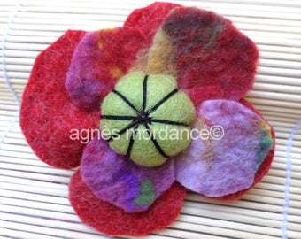 """Pure wool felted brooch """"a little ' ti poppy""""-unique"""