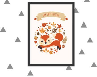 Customized printable fox poster itself
