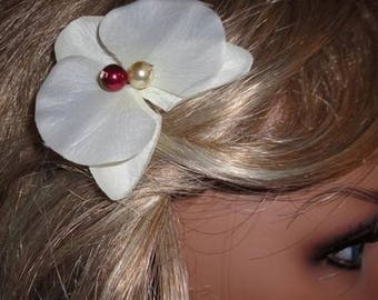 Wedding fascinator, Orchid, Orchid hair clip/spike jewelry Burgundy ivory pearls