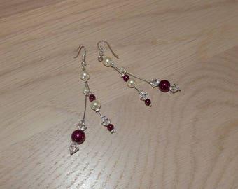 Wedding accessories, Bridal, ivory Burgundy earrings, earrings cheap, ceremonies, parties