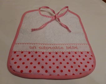 Pink tone with red polka dots embroidered baby bib